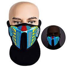 <b>LED Rave Mask</b> - AOLVO Sound Activated <b>Mask Light Up</b> Music ...
