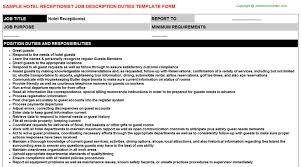 receptionist job description hotel receptionist job description