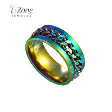 UZone Colorful Chain Spinner Ring For <b>Men Hip Hop Punk</b> ...