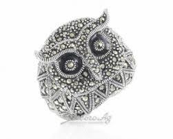 Объемное <b>кольцо Сова</b> из серебра 925 с марказитами и <b>эмалью</b> ...