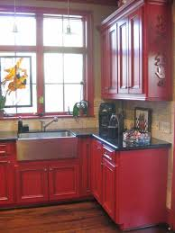 kitchen furniture red cabinet small want to do red in my kitchen but its too small to paint the walls that
