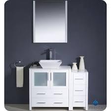 fresca torino  inch white vessel sink bathroom vanity with side