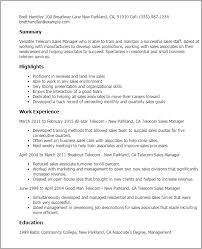 resume templates telecom sales manager telecom resume examples