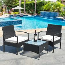 Gymax <b>3 PCS</b> Patio Wicker Rattan Furniture Set <b>Coffee Table</b> & 2 ...