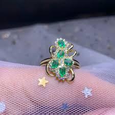 2019 <b>Shilovem 925 Sterling</b> Silver <b>Real</b> Natural Emerald Rings Fine ...