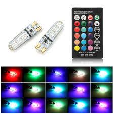 <b>2PCS</b> Car <b>RGB LED</b> 12V T10 <b>LED RGB 5050 6SMD</b> Remote ...