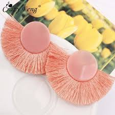 2019 <b>Crazy Feng Trendy</b> Boho Red Fan Shaped Tassel Earrings ...