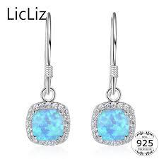 <b>LicLiz 925 Sterling Silver</b> Square Dangle Earrings For Women Blue ...