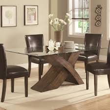 Contemporary Round Dining Table For 6 Awesome Brown Wood Glass Unique Design Pedestal Table Round