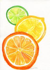 Lemon And Lime Kitchen Decor Citrus Watercolor Painting Grapefruit Orange Limes Slices