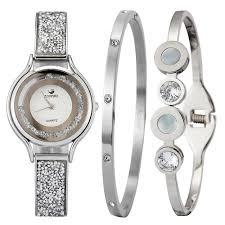 cacaxi brand original women watch set 3pcs pearls diamond