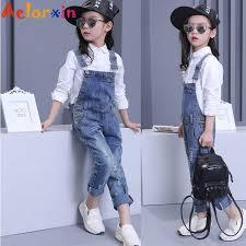 Denim Overalls For Girls Jeans Pants <b>Children</b> Clothes <b>2018 Spring</b> ...