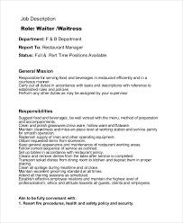 restaurant waiter waitress job description waiter job description