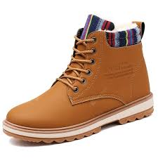 <b>Men's</b> High-top Keep Warm <b>Boots Solid</b> Color Lace-up Casual <b>Shoes</b>