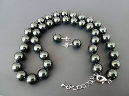 <b>Natural AAA+</b> 8mm black shell pearl earring and 18'' <b>necklace set</b> k3 ...