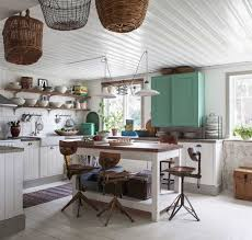 Shabby Chic Colors For Kitchen : Country shabby chic kitchen with white color theme home interior