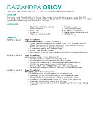 receptionist resumes resume samples for receptionist cv sample gallery of reception resume examples