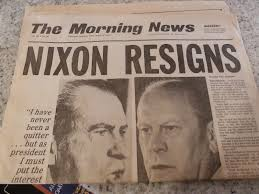 「1974, nixon speak in tv of his resignation succeeding him johnson」の画像検索結果