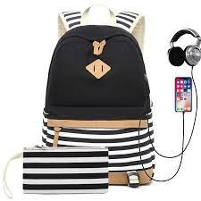 <b>Women</b> External <b>USB</b> Charge <b>Backpack Canvas Backpack Female</b> ...