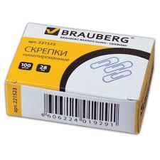<b>Скрепки BRAUBERG</b>, <b>28 мм</b>, никелированные, 100 шт., в ...