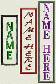 """<b>Custom Vertical Name</b> Patch, Tag, Label - 1"""" x 3"""" to 5""""- Iron On or ..."""