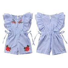 US Fashion Toddler <b>Baby Girl Clothes</b> Floral Denim Romper ...