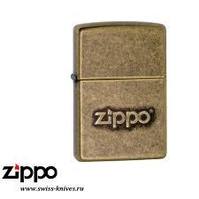 <b>Зажигалка</b> широкая <b>Zippo</b> Classic Logo Stamp <b>Antique Brass</b> 28994