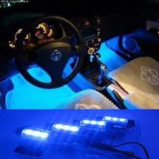 4PCS/<b>1set</b> Vehicle Car Interior Decorative Ambient LED Blue <b>Lights</b> ...