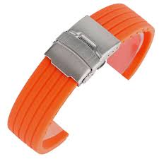 Ourdoor <b>Waterproof Soft</b> Orange Silicone Rubber Watch <b>Band</b> ...