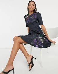 Темно-синее платье мини с расклешенной <b>юбкой Ted Baker</b> Alephi