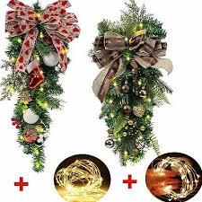 Pre-Lit <b>Christmas</b> Door Wreath <b>Garland</b> Ornaments <b>Tree</b> Hanging ...