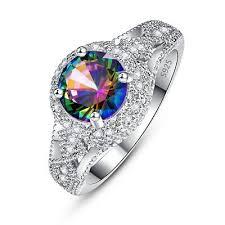<b>Fashion</b> Jewellery <b>Flowers</b> Cocktail Rainbow White Topaz ...