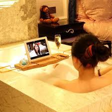 bathtub shower pole caddy caddy  non slip bamboo font b bathtub b font font b tray b font and ca