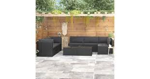 <b>9 Piece Garden</b> Lounge Set with Cushions Poly Rattan Black - Matt ...