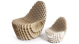 the chick n egg chair by responsive design can be made to any size for either parents or children and its corrugated cardboard construction means its card board furniture