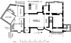 Hall house   WikipediaPlan of Horham Hall  showing the age of different parts