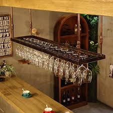 RENJUN <b>Industrial Wind Wine</b> Glass Rack Upside Down Hanging ...