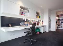 caulfield home trendy home office photo in melbourne with white walls carpet and a built in black modern metal hanging office cubicle