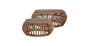 <b>Coffee Tables 2 pcs</b> Natural Rattan - Matt Blatt