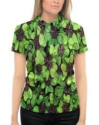 """Рубашка Поло с полной запечаткой """"Зеленые <b>цветы</b>"""" #2275221 ..."""