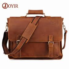 <b>JOYIR</b> Crazy Horse <b>Genuine Leather Men</b> Briefcase Messenger ...