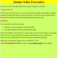 junior s executive job factory latest vacancies in sri lanka junior s executive best job site in sri lanka lk