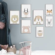 Lion Deer <b>Fox</b> Owl <b>Bear Rabbit</b> Tiger Nursery Nordic Posters And ...