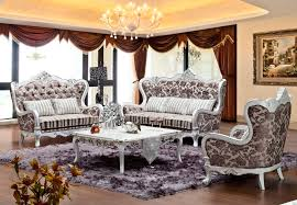 russia style flower pattern design fabric sofa set antique looking furniture cheap