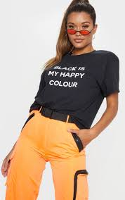 <b>Black Is My Happy</b> Colour T Shirt | Tops | PrettyLittleThing