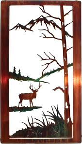 tree scene metal wall art: elk in nature scene laser cut metal wall art