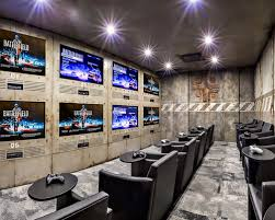 themed family rooms interior home theater:  ddbb  w h b p industrial home theater