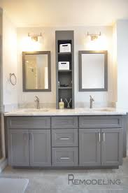 built bathroom vanity design ideas: ideas interior twencent gray vanity for contemporary bathrooom furniture decoration palatial double wall mounted rectangle mirror frames over double gray