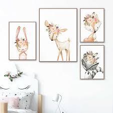 Baby Girl Gift Nursery Decoration <b>Woodland Animals</b> Posters Print ...
