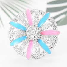 2019 <b>SisCathy</b> 2020 New Luxury Maxi <b>Flower</b> Colorful CZ Stacks ...